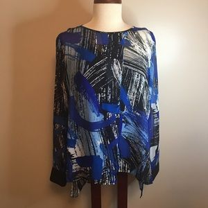 Vince Camuto Career Wear Blouse Blue Black White L